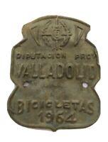 MATRICULA DE BICICLETA 1964 DIPUTACIÓN PROVINCIAL DE VALLADOLID  57x46mm