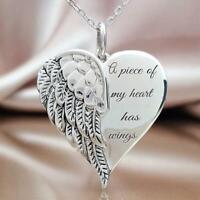 Ailes d'ange Collier en forme de coeur Bijoux de mariage Cadeaux pour femmes D