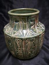 """Vase urn Aztec symbols rustic primitive art 7"""" green clay hierglyphics pottery"""