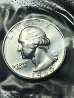 1960 Proof Washington Quarter in original mint cello, 90% silver  Free S/H