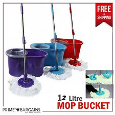 More details for 360° rotating spin mop and bucket set floor cleaning marble tiles cleaner 12 l