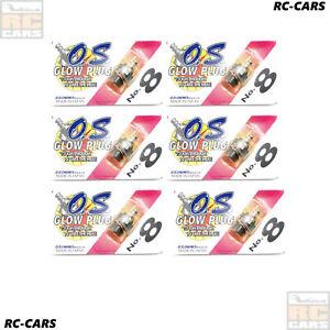 6X O.S. ENGINES STANDART GLOW PLUG NO. 8 MEDIUM SHORTY 2 STROKE NITRO RC CARS