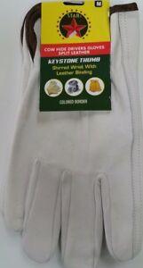 Cowhide Leather Work Gloves DOZEN w/ Keystone Thumb Size M