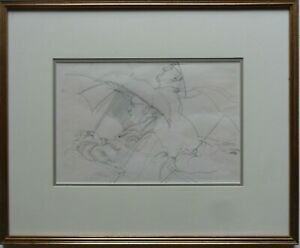 SIR WALTER WESTLEY RUSSELL RA 1867-1949 FINE ORIGINAL SIGNED DRAWING IN THE RAIN