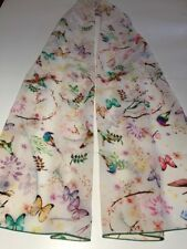 100% Mulberry Silk Scarf Crepe de Chine Birds & Flowers 🇦🇺 Crafted 53x172cm