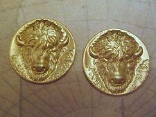 (2) - Ff836 Jewelry Finding Raw Brass Buffalo Head Stampings