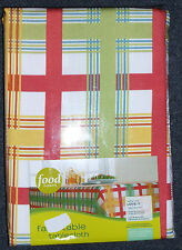 "FOOD NETWORK FABRIC TABLECLOTH ORANGE GREEN WHITE PLAID 60"" x 102"" RECTANGULAR"