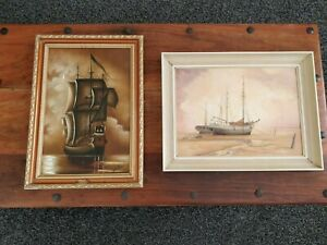 Pair of  oil paintings. Seascape galleon. Ship boat. Nautical