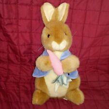 "Vintage Eden Beatrix Potter PETER RABBIT Brown Soft 14"" Plush Blue Jacket Carrot"