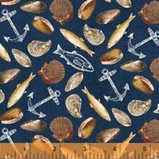 Fresh Catch Seafood Dark Blue  51076-1 Cotton Quilt Fabric Windham BTY