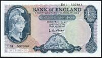 B277 O'BRIEN 1957 £5 BANKNOTE * E01 537944 * LAST SERIES * gEF+ *