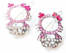 USA SELLER Rhinestone Crystal Hair Clip Hello Kitty Cat Kid Child Pin Pink TWO