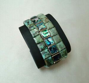 3 Bracelets Natural Stone Abalone Shell Turquoise Green Elastic