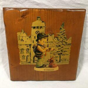 M J Hummell Handmade Wooden Glazed Decoupage Wall Plaque Puppy Love Vintage 70s