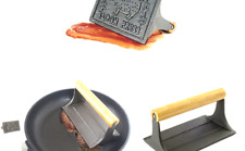 Norpro Cast Iron Bacon Press with Wood Handle