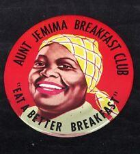 Vintage Aunt Jemima Breakfast Club Pancake Mix Syrup Ad Advertising Pin