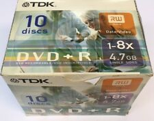 TDK DVD+R 4.7GB 1-8x - 10 Pack - Individual Jewel Cases - NEW AND SEALED!!
