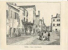 Stampa antica VENEZIA Campo Santa Margherita 1892 Old antique print VENICE