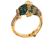 Retro Gold Tone Emerald Topaz Crystal Rhinestone Koi Fish Cuff Bangle Bracelet