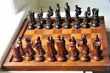 "Antique ""Running Man"" Chess set in maple with board  K= 87mm (3.5"")"