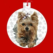 Yorskhire Terrier, Yorkie ORNAMENT CHRISTMAS Dog PUPPY silver snowflakes