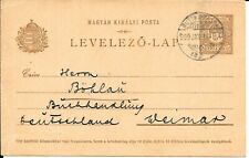 HUNGARY POSTAL STATIONERY 1908 USED TO GERMANY RUTTKA KASSA CDS