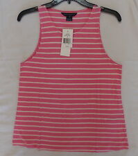 New! Women's FCUK, French Connection Stripe Camisole Pink/White Size M $48