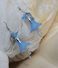 Boucles d'oreilles fleurs clochesbleus forêt dark mori elfique bleu féerique