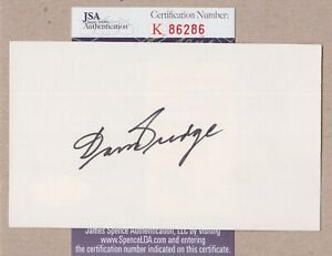 Don Budge Tennis HOF Signed Index Card with JSA cert