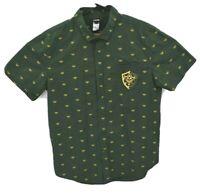 Legend of Zelda Mens Short Sleeve Shirt Sz L Green All Over Print Nintendo