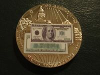 BENJAMIN FRANKLIN $100 BANKNOTE SINCE 1928 1999 SILVER FINISH TOKEN COIN!