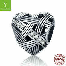 925 Sterling Silver Luminous Love Heart Shape Clear CZ Beads fit Charm Bracelets