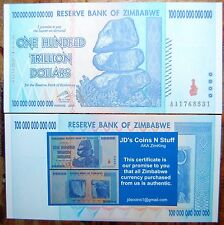 ZIMBABWE 100 TRILLION DOLLARS | COA INCLUDED | UNCIRCULATED | 2008 AA