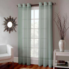 2 FAUX SILK WINDOW PANEL SEMI SHEER CURTAIN DRAPE GROMMET NANCY SAGE GREEN 84""