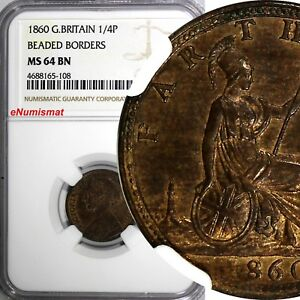 Great Britain Victoria 1860 Farthing BEADED BORDER NGC MS64 BN  KM# 747.2