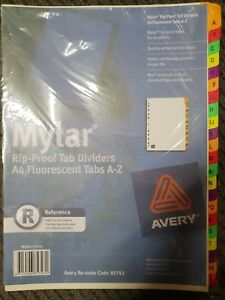 Avery A4 A-Z Tabs Dividers White Mylar Fluoro Coloured Tabs 85743 x 3 Packs NEW