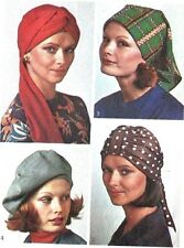 Vintage 1970s Sewing Pattern Hats,Turbans Beret & Scarf Hat, Chemo, Alopecia