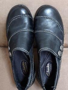 Clarks Bendables Ashland Alpine Slip On Loafers Womens BLACK  5.5 M *NEW* No Box
