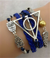 NEW Infinity Owl Antique Silver Leather Charm Bracelet B9