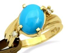 VTG Very Rare Easter Blue Cabochon Turquoise & Diamond 14k Solid Gold