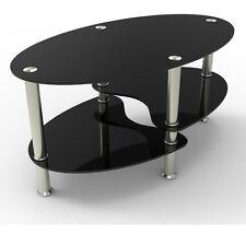 DESIGN BLACK GLASS OVAL COFFEE TABLE WITH SHELVES AND CHROME LEGS LIVING ROOM