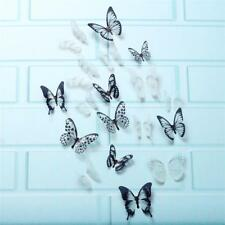 18x 3D White Black Butterfly Sticker Art Wall Decal Home Decoration Decor New