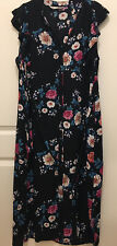 Yumi Maxi Dress Black Floral Size 16 Button Up V Neck