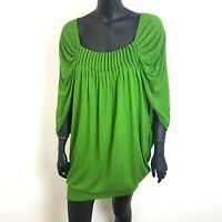 Ted Baker Loosefit Dress Size 1 UK 8 Bright Green Mini Length Modal Mix