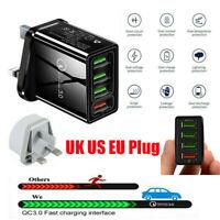 4 Multi-Port QC 3.0 Fast Quick Charge USB Hub Wall Charger Adapter Plug UK US EU