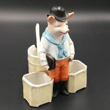 Ancien serviteur moutardier sel poivre Porcelaine Cochon Mustard Ceramic Pig Pot