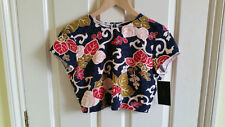 New Zara Discontinued Cute Multi-coloured Floral Crop Top with back zip - Size S