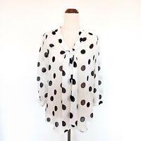 Tokito Size 10 Black & White Polka Dot Sheer Tie Front Blouse Women's Top