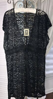 NEW Plus Size 2X Black Lace Cover Up Beach Tunic Top Shirt