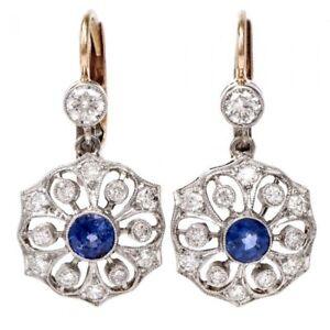 1.22cts Round Diamond 14k Rose Gold Sapphire Gemstone Lever Back Hoop Earring